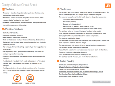 Design Critique Cheat Sheet